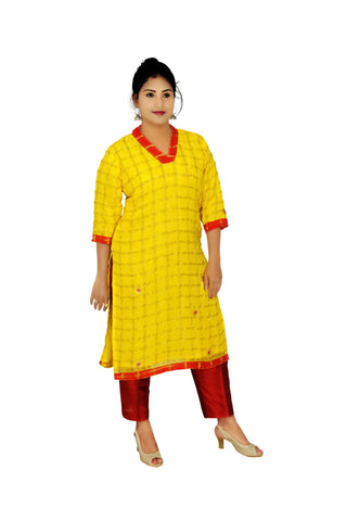 Georgette Readymade Designer Kurti with Stone Work in Yellow | Akalors