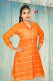 Akalors Linen Readymade Designer Kurti with in Orange | Akalors