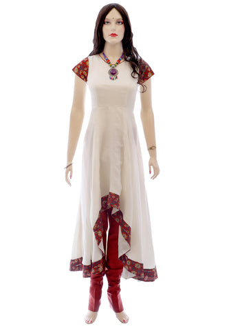 Printed Kota Silk with Kalmkari Cotton Border Anarkali Salwar Kameez in White | SKU Code : AKK3023 - Salwar | Akalors