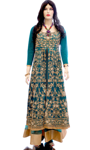 Embroidered Mulberry Silk Line Style Salwar Suit in Teal Green | SKU Code : NPN0137 - Salwar | Akalors