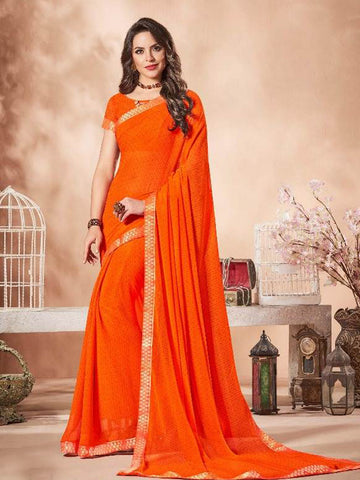 Lace Bordered Georgette Saree in Orange-Ready to Ship(USA Only) - akalors