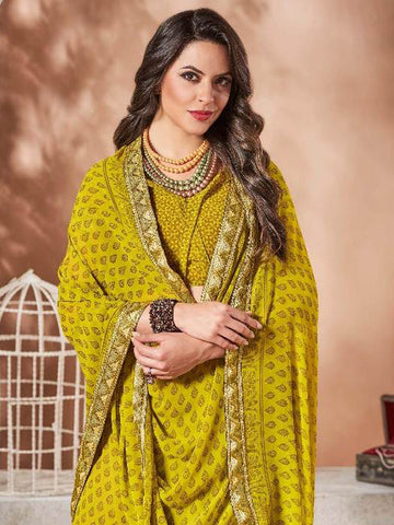 Saree - Lace Bordered Georgette Saree in Lime Green-Ready to Ship(USA Only)