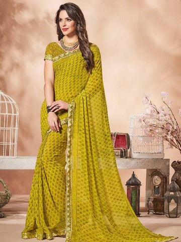 Lace Bordered Georgette Saree in Lime Green-Ready to Ship(USA Only) - akalors