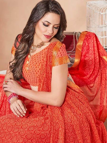 Saree - Lace Bordered Georgette Saree in Ruby Red-Ready to Ship(USA Only)