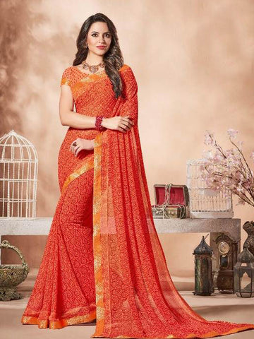 Lace Bordered Georgette Saree in Ruby Red-Ready to Ship(USA Only) - akalors