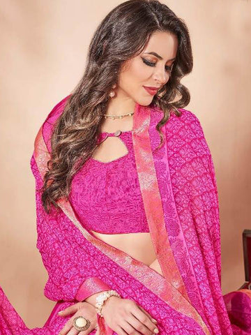Saree - Lace Bordered Georgette Saree in Fuchsia-Ready to Ship(USA Only)