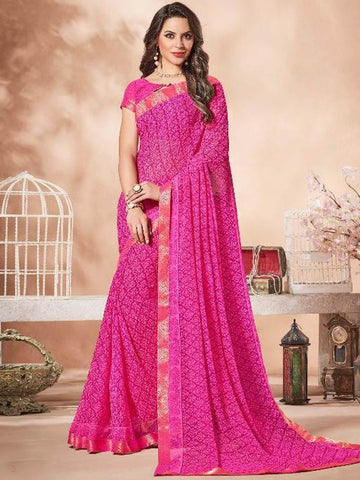 Lace Bordered Georgette Saree in Fuchsia-Ready to Ship(USA Only) - akalors
