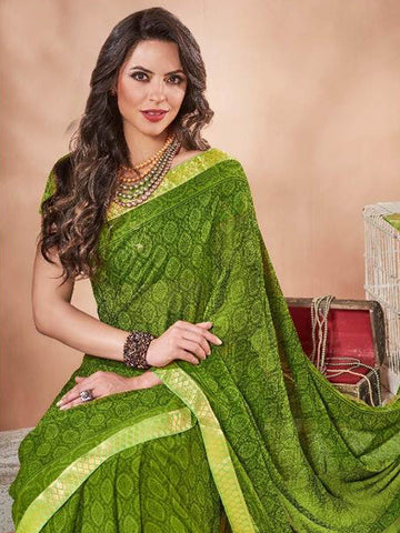 Saree - Lace Bordered Georgette Saree in Green-Ready to Ship(USA Only)