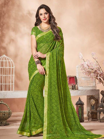 Lace Bordered Georgette Saree in Green-Ready to Ship(USA Only) - akalors