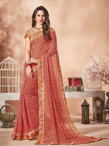 Lace Bordered Georgette Saree in Maroon-Ready to Ship(USA Only) - akalors