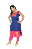 Akalors Blue Woven Cotton Silk Readymade Designer Kurti with Zari Border | Akalors
