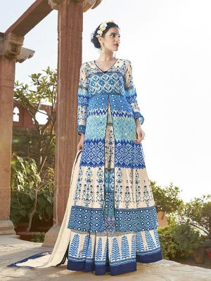 Printed Japan Satin Ready Made Salwar Suit in Aqua N White-Ready to Ship - akalors