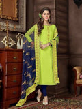 Embroidered Rayon Cotton Kameez Style Suit in Lemon Yellow-Ready to Ship(USA Only) - akalors