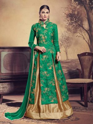 Heavy Embroidered Bangalori Silk Kameez Style Suit in Green-Ready to Ship - akalors