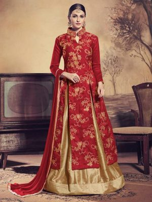 Heavy Embroidered Bangalori Silk Kameez Style Suit in Maroon-Ready to Ship - akalors