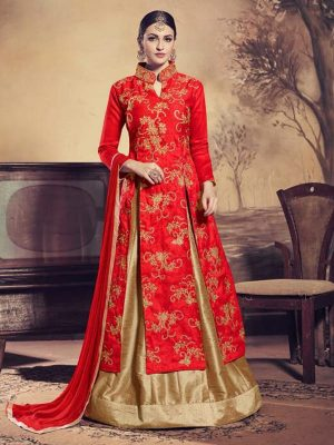 Heavy Embroidered Bangalori Silk Kameez Style Suit in Red-Ready to Ship - akalors