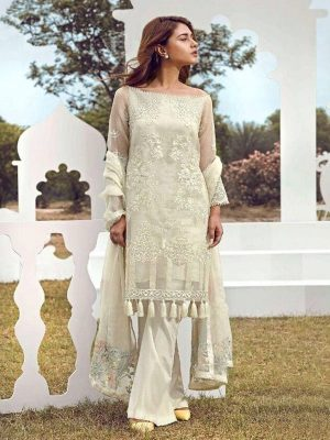 Poly Georgette Pakistani Style Salwar Suit in white-Ready to Ship(USA Only) - akalors