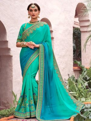 Heavy Embroidered Fancy Wear Half N Half Saree in Turquoise-Ready to Ship(USA Only) - akalors