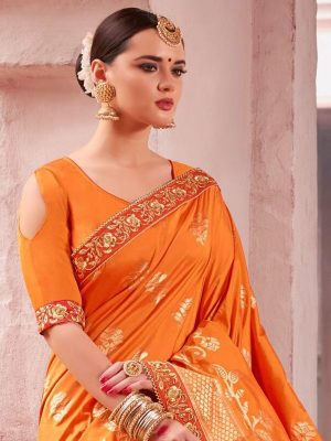 Heavy Embroidered Fancy Wear Saree in Orange-Ready to Ship(USA Only) - akalors