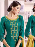 Pure Cotton Kameez Style Suit in Teal and Beige-Ready to Ship - akalors