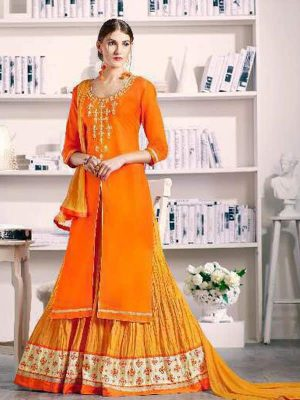 Pure Cotton Kameez Style Suit in Bright Orange-Ready to Ship - akalors