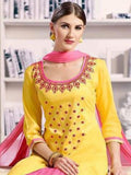 Pure Cotton Kameez Style Suit in Yellow and Pink-Ready to Ship - akalors