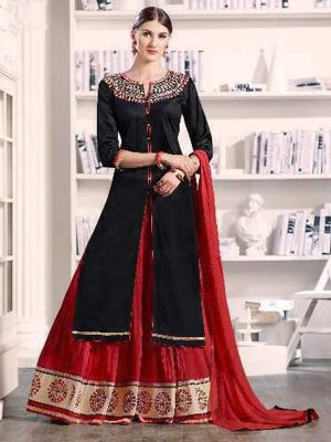 Pure Cotton Kameez Style Suit in Black and Maroon-Ready to Ship - akalors