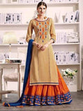 Pure Cotton Kameez Style Suit in Orange and Beige-Ready to Ship - akalors