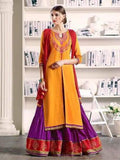 Pure Cotton Kameez Style Suit in Orange and Violet-Ready to Ship - akalors