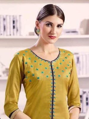 Pure Cotton Kameez Style Suit in Beige n Blue-Ready to Ship - akalors