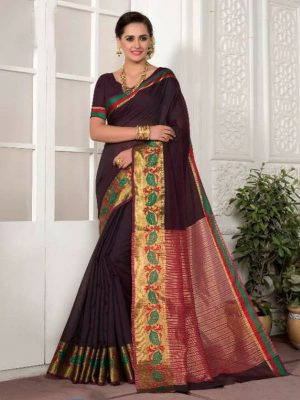 Hand Woven Silk Saree with Zari Work in Plum-Ready to Ship(USA Only) - akalors