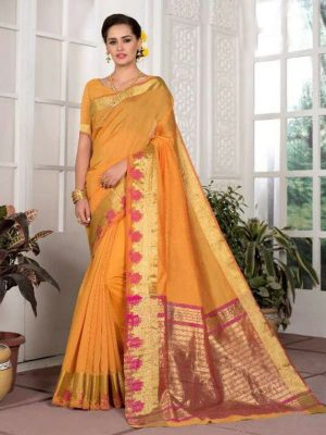 Weaving Silk Zari Work Saree in Mustard-Ready to Ship(USA Only) - akalors