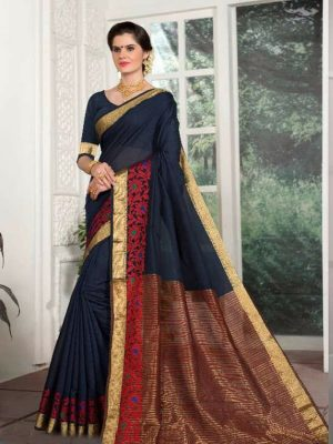 Weaving Silk Zari Work Saree in Navy Blue-Ready to Ship(USA Only) - akalors