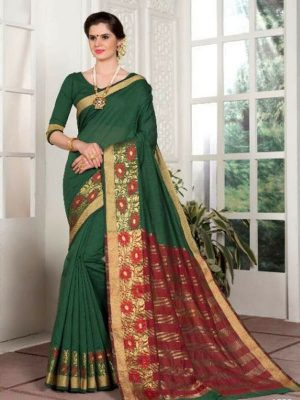 Weaving Silk Zari Work Saree in Green-Ready to Ship(USA) - akalors