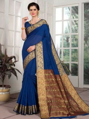 Weaving Silk Zari Work Saree in Indigo-Ready to Ship(USA Only) - akalors