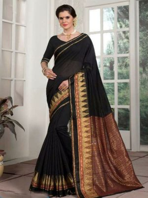 Weaving Silk Zari Work Saree in Black-Ready to Ship(USA Only) - akalors