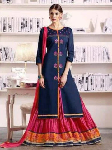 Pure Cotton Kameez Style Suit in Navy Blue and Pink-Ready to Ship - akalors