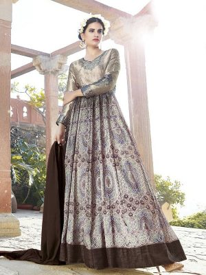 Printed Japan Satin Ready Made Salwar Suit in Grey-Ready to Ship(USA Only) - akalors