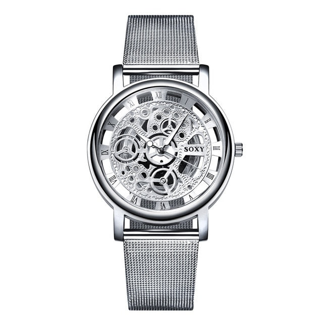 Silver & Golden Luxury Hollow Steel Watches Unisex Hombre Quartz Wrist watch Clock