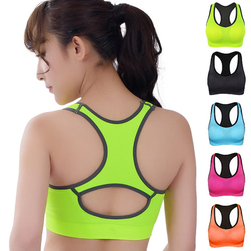 HOT Professional Women Fitness exercise Sports Bra Push Up Breathable Yoga Bras Underwear GYM lady Running Neon Color Quick Dry - SuRegaloExpress