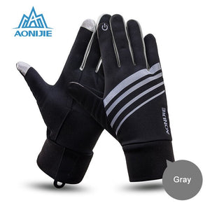 Sports Gloves Touch Screen Running Gloves with Key Pocket Windproof Cycling Climbing Full Finger Fitness