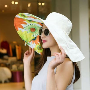 Summer large brim beach sun hats for women UV protection