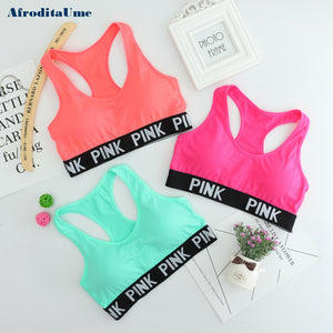 Women Sports Crop Top Cotton Padded Bra Top Fitness Stretch Workout Sport Bras