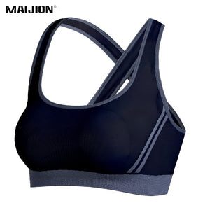 MAIJION Women Sexy Cross Straps Sports Bra Push Up Shockproof Fitness Yoga Bras Seamless Yoga Crop Top Stretch Gym Athletic Vest - SuRegaloExpress