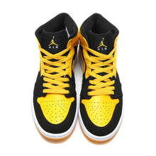 Cargar imagen en el visor de la galería, Nike Air Jordan 1 Mid AJ1 Original Authentic Black Yellow Joe Men's Basketball
