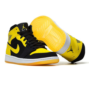 Nike Air Jordan 1 Mid AJ1 Original Authentic Black Yellow Joe Men's Basketball
