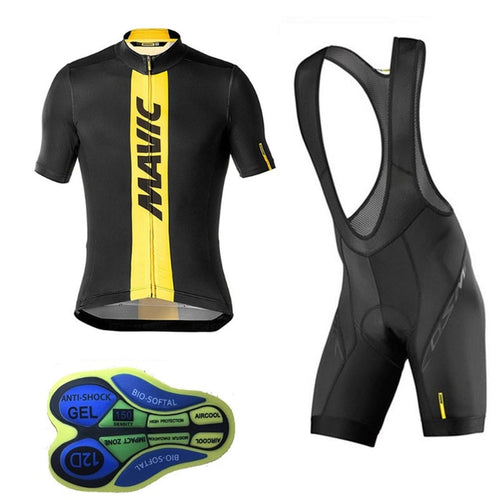 Team Pro Mavic Men Cycling Jersey Ropa Ciclismo Bike Set Bycicle Clothing Short Sleeve bib Shorts Maillot hombre bicicleta #725
