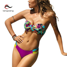 Cargar imagen en el visor de la galería, Sexy Push up Bikini Print Floral Swimsuit Plus size Swimwear Cut out Brazilian