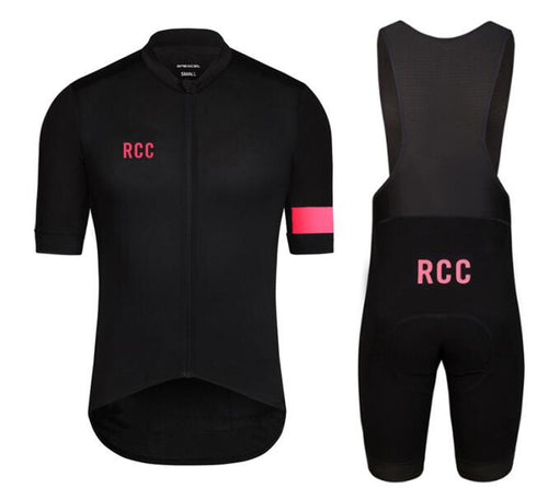 2018 RCC black pink high quality pro team short sleeve and bib shorts 4D gel pad set road MTB bicycle clothes cycling gear - SuRegaloExpress