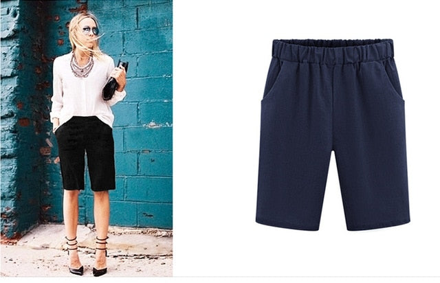 2019 Summer large size women shorts Loose Cotton Solid Color casual shorts Female plus size 6XL short pants - SuRegaloExpress